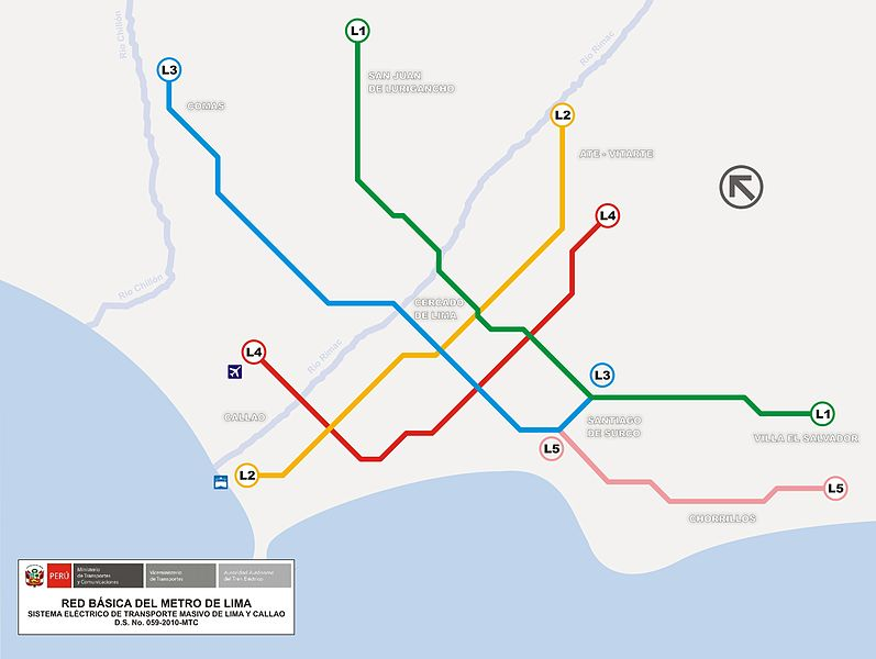 Lima's proposed six-line metro network
