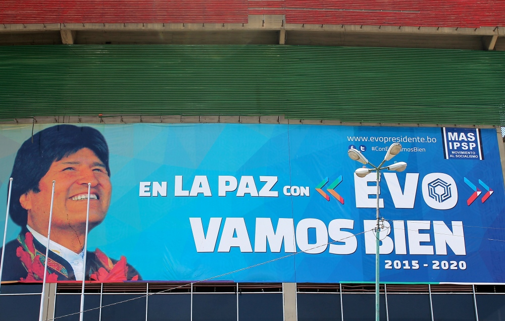 An Evo campaign poster in downtown La Paz, (photo: Alex Pashley)