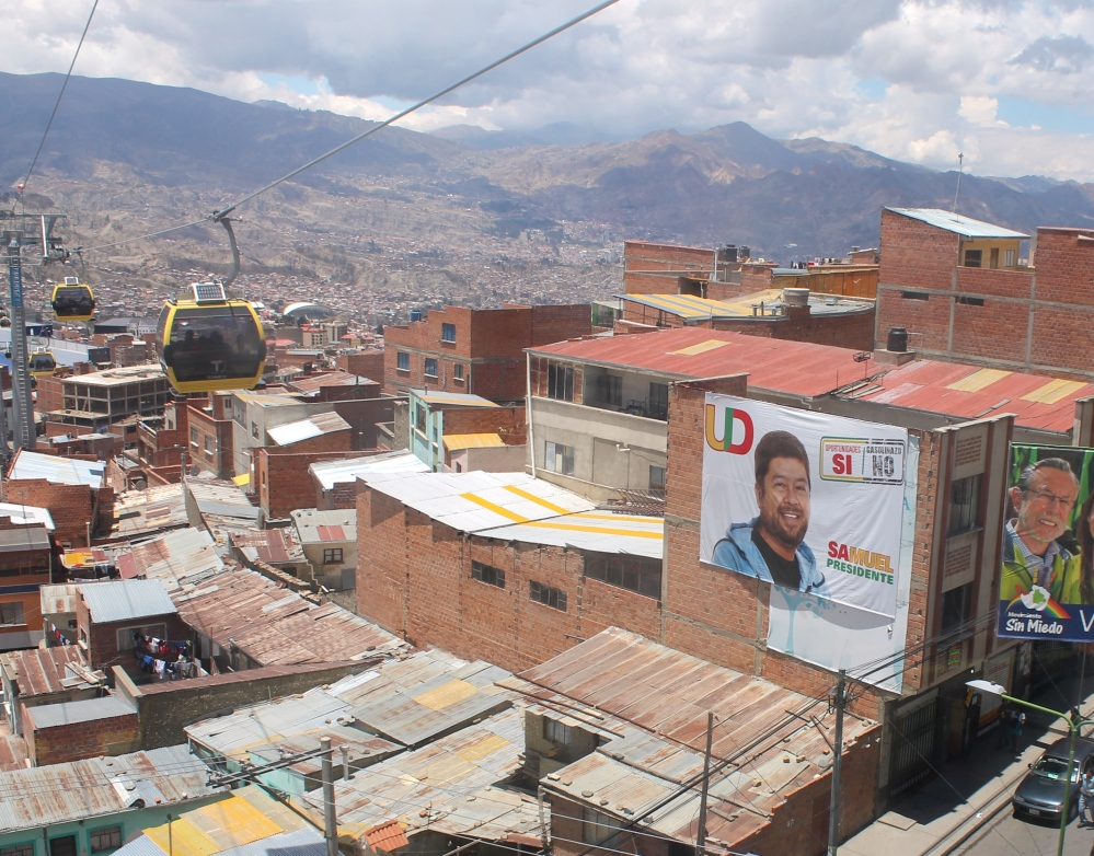 View over La Paz, the world's highest city, from El Alto. A new cable car now links the two, cutting journeys from 2 hours to 15 mins (photo: Alex Pashley)